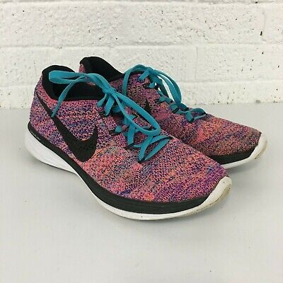 more photos c868a eee9e Nike Flyknit Lunar 3 698182-407 Womens Size US 8.5 Pink Orange Blue Running  Shoe