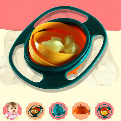 Spill Proof Baby Kids Gyro Feeding Food Grade PP Bowl Lid Plate 360 Rotate