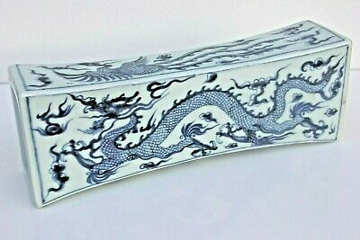 Chinese Porcelain Dragon Phoenix Pearl Hand Painted Standing Drum Vase Pillow