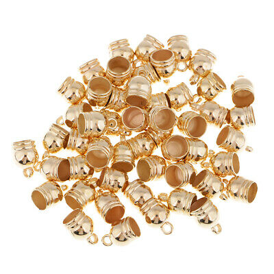 50pcs Charms Bead End Caps Stopper Fit 8mm Cord Leather Crafts Necklace Gold