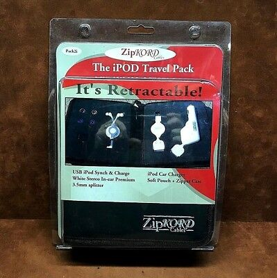 ZIP KORD Cables ~ The iPOD Travel Pack ~ In-Ear Headphones~Car Charger, Etc..