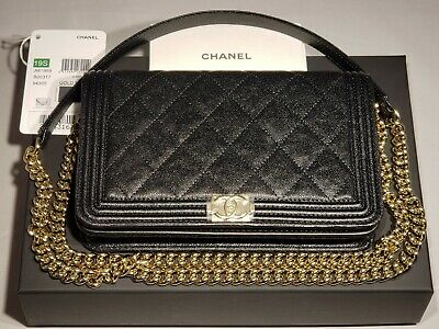 2886a1f7bc37 New Chanel Black Caviar Le Boy Woc Mini Clutch Bag Wallet On Chain Gold 19P  2019