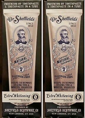 (2) Dr. Sheffield's Certified Natural Toothpaste Extra Whitening Fluoride Free