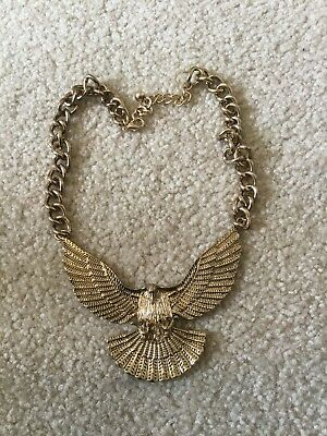 Vintage Brass Eagle Necklace Hand Made Antique Very Nice 4 Inch Pendant