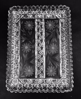Pairpoint ABP Cut Glass Crystal Large Tray 2-Cut Octagon & Daisy Heavy Antique