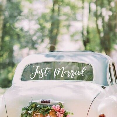 White JUST MARRIED Sign Car Sticker Window Banner Sticker Decal Wedding Decor