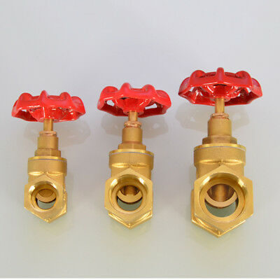 1/2''~1'' BSP Brass Female X Female Gate Valve with Red Wheel Handle Clique New