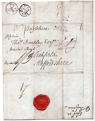 1792 letter from abroad with Foreign Office Bishops mark and inland double ring