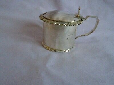 ANTIQUE SOLID SILVER MUSTARD POT WITH BLUE GLASS LINER LDN 1890 BLUNT WRAY & Co