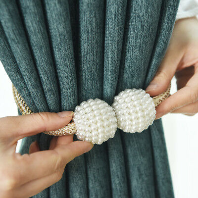 Beaded Curtain Tie Backs Hold Back Magnetic Clips Ball Holders Chic Modern Decor
