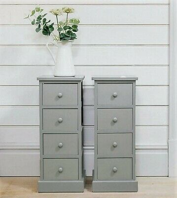 low priced b00d6 e1b37 PAIR OF TALL Bedside Tables 4 Drawers Grey Wooden Cabinets Bedroom Units  Tallboy