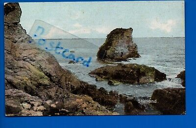 Old Postcard Shetland Highland Scottish Isles - Seascape Coast Rocks Waves Sea