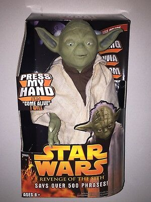 New Rare Vintage Star Wars Yoda Figure Talking Doll Hasbro Never Opened