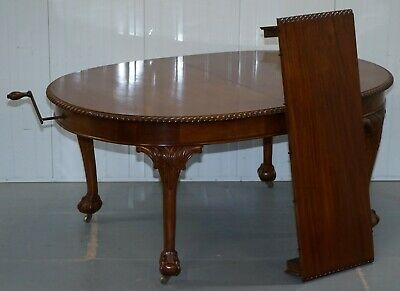 1920's Solid Walnut Extending Dining Table Large Claw & Ball Feet Seats 4 To 8