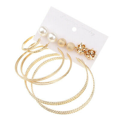 3cd2c429a5 6 Pairs Assorted Faux Pearl Metal Stud Mix Size Round Hoop Earrings Set