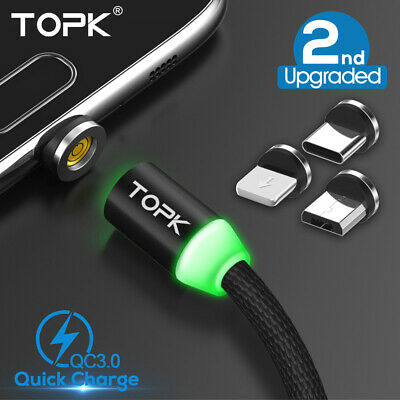 TOPK Magnetic Cable Fast Charging USB Type C & Micro USB Data Sync For iPhone