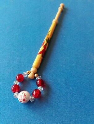 Wood Painted Lace Bobbin with Red Fushia Flower & Red Spangles.