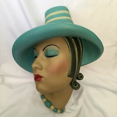 Large deco style wall mask plaque,30s/40s hat chalkware , REPRODUCTION