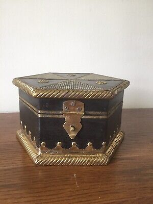 Solid Darkwood Hexagonal Box With Brass And Metal Detail