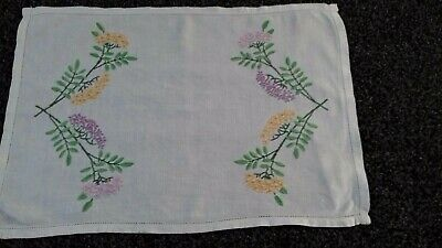 Beautiful Vintage Linen Hand Embroidered Tray Cloth