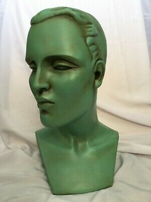 Art Deco Style Shop Display Male Bust Mannequin Head Plaster ./chalkware