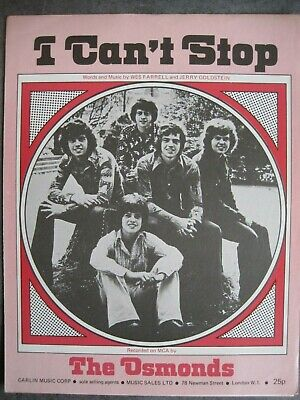 """""""i Can't Stop""""      The Osmonds.    Sheet Music."""