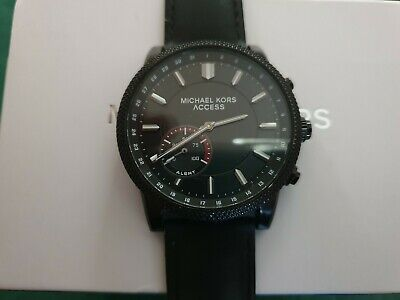 2354e7c99794 USED MICHAEL KORS ACCESS MKT4025 SCOUT LEATHER HYBRID MENS SMARTWATCH BLACK  43mm