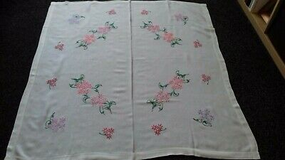 Beautiful Vintage Linen /rayon Mix Hand Embroidered Tablecloth