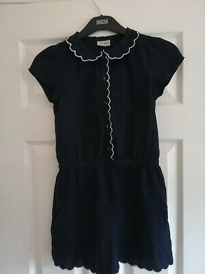 NEXT Girls Navy With White scallop Trim Playsuit Age 10. VGC
