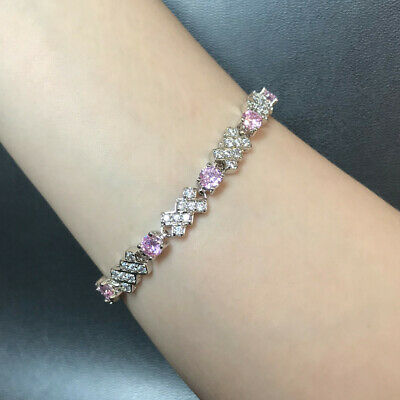 """Round Pink Sapphire Cubic Zirconia CZ White Gold Plated Tennis Bracelet Gift 7"""""""