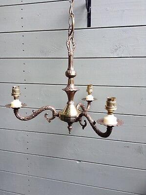 Vintage Ornate Brass 3 Arm Ceiling Light/Chandelier Candelabra Rococcoesque