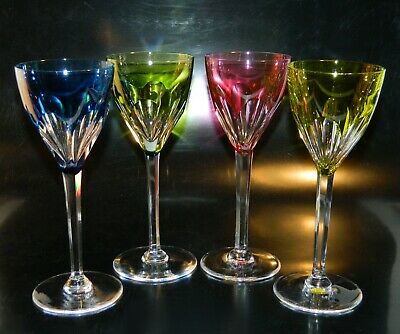4 Val St. Lambert GEVAERT Colored Cut to Clear WINE Goblets SIGNED Excellent!