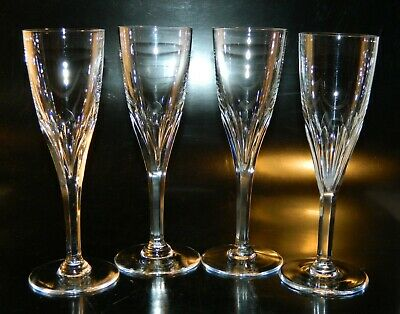 """4 Val St. Lambert NESTOR Crystal CHAMPAGNE FLUTES 7 3/8"""" Tall Cut Excellent!"""