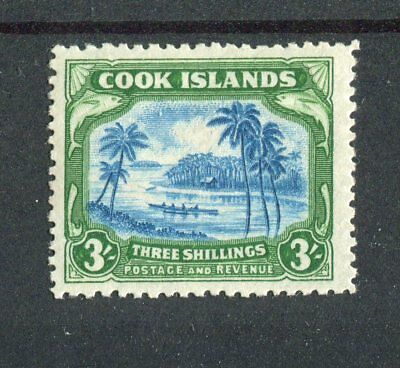Cook Islands KGVI 1944-46 3/- greenish blue & green SG145 MNH