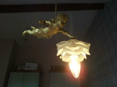 Antique French gilt spelter metal flying cherub angel putti light chandelier