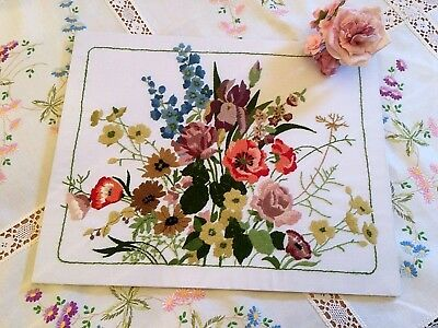 ~*Beautiful*~ Vintage Hand Embroidered Picture Panel Raised Crewel Work Flowers