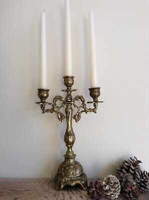 Lovely Vintage Heavy Brass 3 Arm Table Candelabra Centrepiece Ornate Rococo