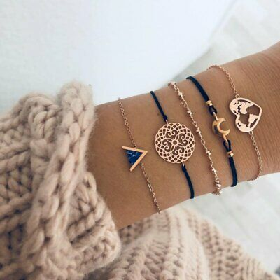 Fashion Women Multi-layer Rope Bracelets Geometric Turquoise Map Heart Bangle