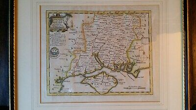 1760 Original Antique Copper Plate Map Of Hampshire - Thomas Kitchin - Framed
