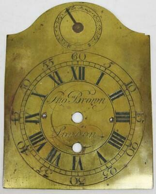 Antique C1710 Engraved Brass Thomas Brown Of London Fusee Bracket Clock Dial