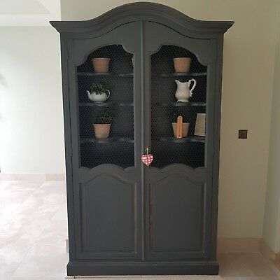 Grey Vintage French Armoire with Chicken Wire Doors & Shaped Shelves