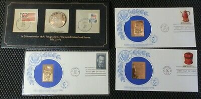 Lot of 4 1st Day of Issue Envelopes With Gold Foil Stamps and 1OZ Silver Coin