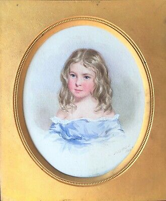 ''william Fisher'' Ra (1817-1895) Superb Miniature Portrait Watercolour Painting