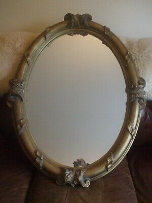 "Large Chunky Antique style Rococo muted gold oval mirror  37"" x 28"""