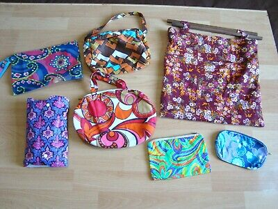 Vintage 60s 70s Bags Job Lot Knitting Cosmetics Wash Bag etc