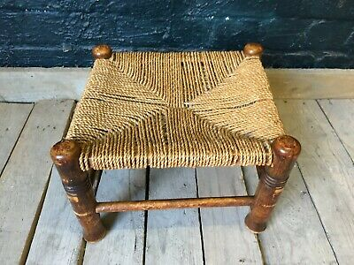 Charming Rustic Country House Solid Oak Rush Seat Stool