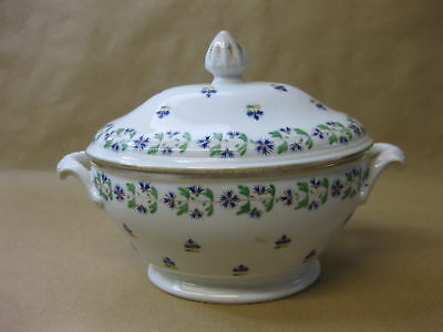 Antique English Porcelain Sauce Tureen ~ 19th Cent. ~ Hand Painted Flowers