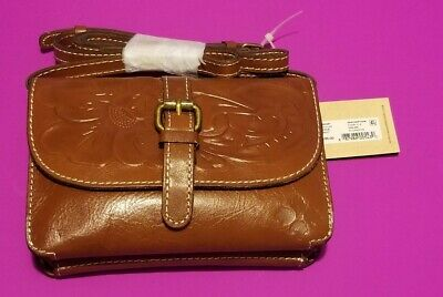 fac7cedba NWT Patricia Nash Tooled TORRI FLORENCE Crossbody Leather Brown / Purse  Clutch