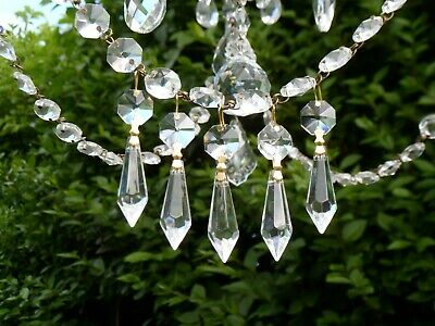 Dainty Chandelier Sweet Crystal Glass Clear Icicle Bomb Drops *Full Set of 5 *