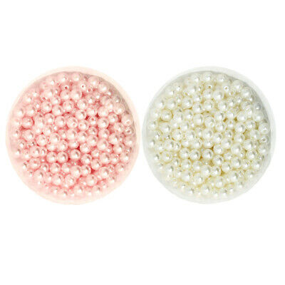 1000pc 6mm DIY ABS Round Pearl Loose Beads Jewelry Making Crafts White&Beige